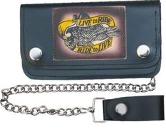 AL3281-Large Live to Ride Leather Biker Wallet