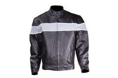 Mens Motorcycle Jacket With Silver Racing Stripe