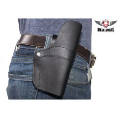 Black Leather Gun Holster With Two Leather Straps
