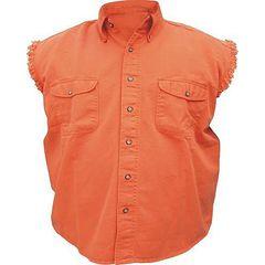AL2902-Men's Orange Denim Sleeveless Shirt