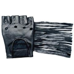 AL3004-Leather Fingerles Fringed Gloves