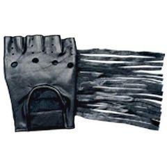 AL3004-Leather Fingerles Fringed Gloves