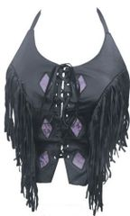 Ladies Halter top Purple diamonds fringed laced front