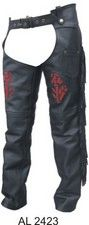 Ladies Red Rose lined Motorcycle chaps