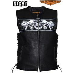 Leather Vest With Reflective Skulls, Gun Pockets