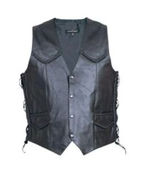 Men's Braided Leather vest with side laces
