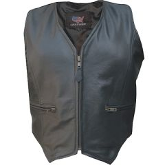 AL2303-Ladies Zippered Leather Vest
