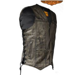 Men's Distressed Brown Motorcycle Vest With 10 Pockets