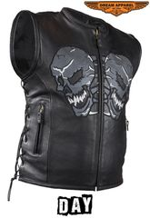 Mens Biker Leather Vest With Reflective Skulls
