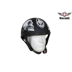 DOT Biker Helmet with White Horned Skeletons