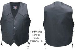 Men's Vest Single panel back leather lined gun pockets