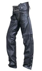 Unisex Chaps Braided lined silver Hardware Buffalo Leather