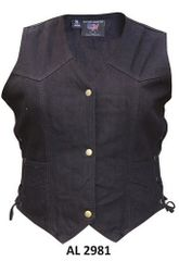 Gun Pocket Ladies Black Denim Vest