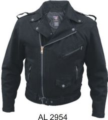 AL2954 Black Denim Motorcycle Jacket