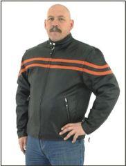 Mens Racer Jacket with Orange Stripes
