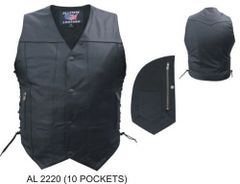 Mens 10 Pocket Motorcycle Leather vest