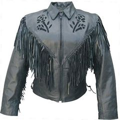 AL2106-Ladies Black Rose Motorcycle Jacket