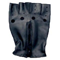 AL3006-Black Leather Fingerless Zippered Gloves