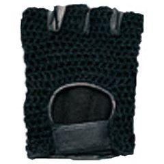 AL3003-Black Mesh Leather Fingerless Glove