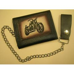 AL3272-Leather Tri-fold Motorcycle Wallet