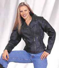 Ladies Cowhide Braided Motorcycle Jacket