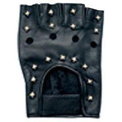 AL3005-Leather Studded Fingerless Gloves