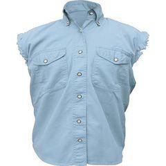 AL2925-Ladies Light Blue Denim Sleeveless Shirt
