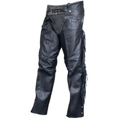 AL2403-Black Leather Braided Motorcycle Chaps Fringed