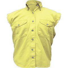 AL2928-Ladies Yellow Denim Sleeveless Shirt