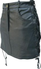 Ladies SOLID LEATHER skirt with side laces