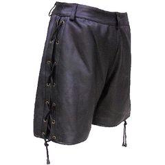 AL2881-Ladies' Black Leather Long Shorts