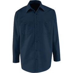 SEE166 LONG Sleeve Industrial Work Shirts 4.25oz 6-Button Gripper at Neck NAVY