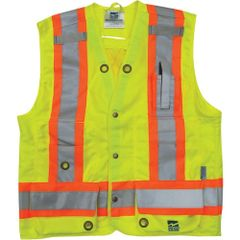 "SDP456 Surveyor Safety Vest 2"" reflective material on 4"" contrasting tape High Visibility Lime Green 8 Velcro sealed pockets #6165G"