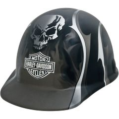 **NO LONGER AVAILABLE** SAS387 HARLEY DAVIDSON HARD HAT #HDHHAT35FM Black Matte w/Silver Metallic Flames, Blades and Skull