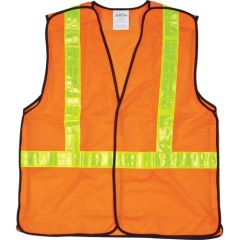 SEF097 CSA Compliant 5-Point Tear-Away Traffic Safety Vests ZENITH ORANGE (MED-XXL)