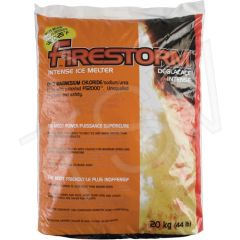 JB597 Firestorm TM Intense Ice Melters Container Size: 44 lbs. (20 kg) Container Type: Bag Melting Point: -32°C (-25°F)