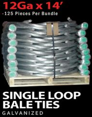 M80012 WIRE, BAILING 14' SINGLE LOOP 12GA 125/BUNDLE GALVANIZED