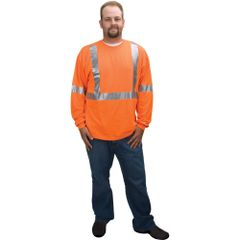 SEA713 Polycotton Safety LONG SLEEVE SAFE+SOUND #KP4-ORS-M REFLECTIVE/ORANGE