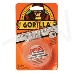 "NKA486 Gorilla Tough & Clear Mounting Tape Width: 25.4 mm (1"") Length: 1.52 m (5') CLEAR GORILLA #6065101"