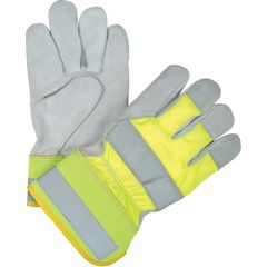 SED160 High Visibility Split Cowhide Fitters Gloves, LARGE