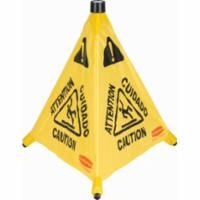 """JA131 Pop-Up 20""""H Safety Cone Message: Multi-Lingual Caution w/Wet Floor Symbol RUBBERMAID #FG9S0000YEL"""