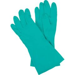 "SEF083 NITRILE Cotton Flock-Lined 13""LENGTH 13Mil Thick Green FDA (Sz's 7-11) ZENITH"