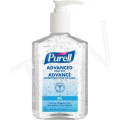 JA358 SANITIZER, 70% ALCOHOL HAND-GEL 8oz PUMP BOTTLES PURELL