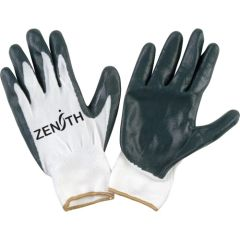 SAO157 NITRILE COATED PALM, NYLON KNIT BACK BREATHABILITY Lightweight Sz's (7-11) ZENITH