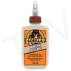 NKA493 Gorilla Wood Glue Format: 4 oz. Container Type: Squeeze Bottle Max. Required Application Time: 10 min. Max. Required Clamp Time: 30 min. GORILLA #6212002