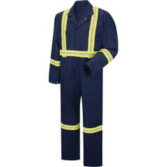 "SDH951 ENHANCED VISIBILITY COVERALLS UNLINED 7.35oz Twill, 65%Poly/35%Cot 2"" yellow/silver/yellow (3M Scotchlite #9920) RED KAP"