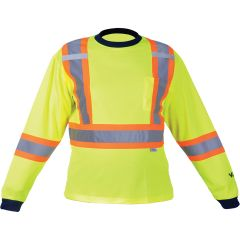 "SDP397 Safety Long Sleeve Shirt Dual chest straps 2"" Reflective on 4"" Contrasting tape High Visibility Lime/Yellow VIKING #6015G"