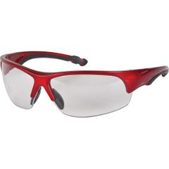SEH632 SAFETY GLASSES WRAP AROUND RED FRAME/CLEAR LENS Z1900-INDOOR