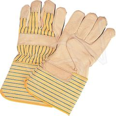 """SM583 Standard Quality Cotton Lined Grain Cowhide Fitters Glove SIZE: LARGE 4""""GAUNTLET CUFF Leather Palm ZENITH"""