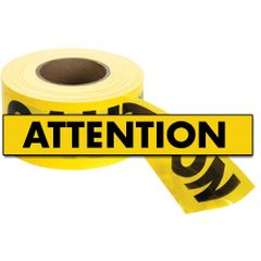 "SED022 Barricade Tape ""Attention"" ENGLISH 3"" x 1000' Economy Grade BLACK ON YELLOW"